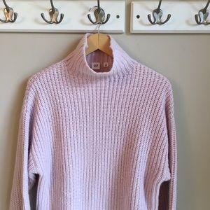 Gap Light Pink Funnel Neck Sweater (Medium-TALL)